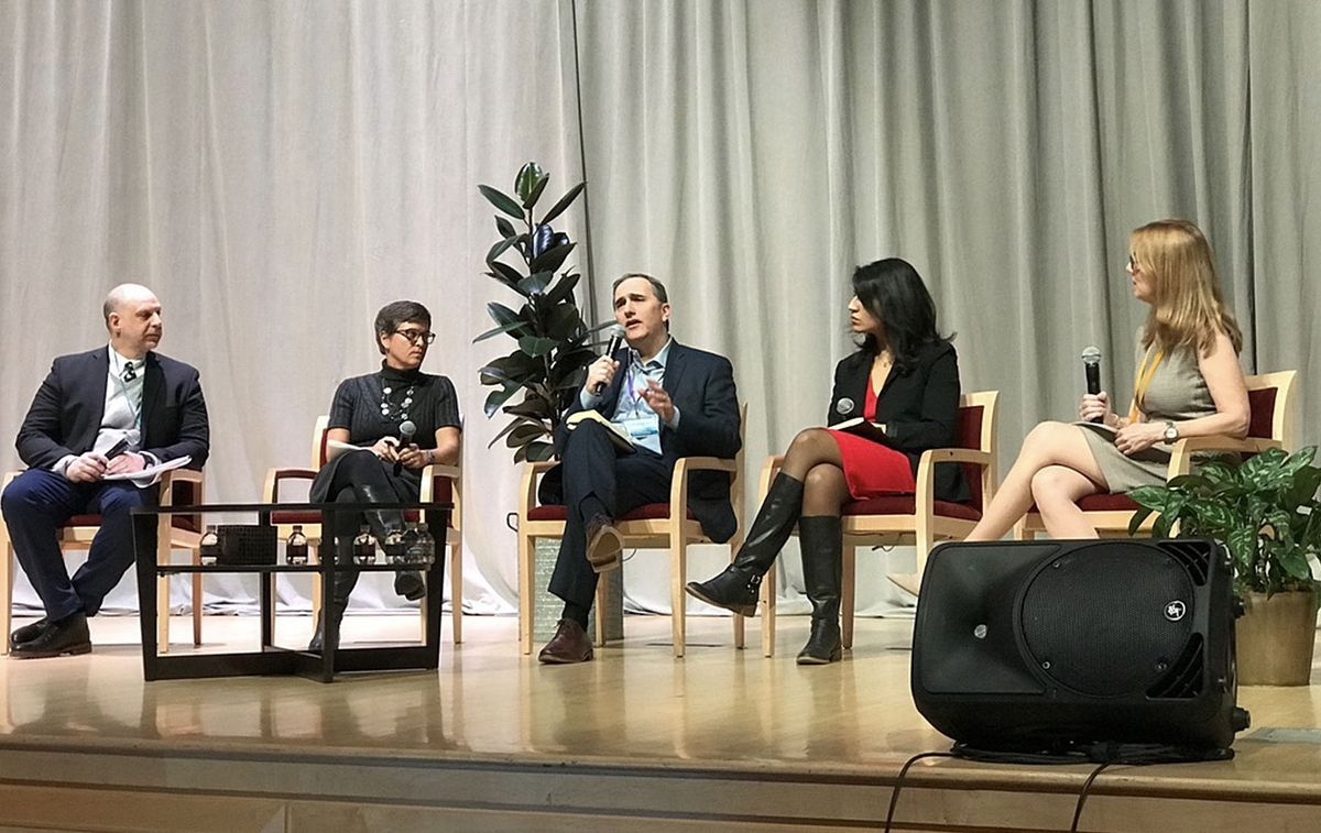 Rehana on a panel with John Balbach, Kimberlee Cornett, Benjamin Kerman and Fraser Nelson in 2018