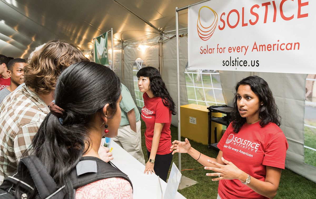 Steph spreading the word of community Solar_Solstice_Invest for Good