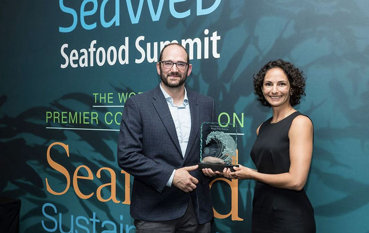 Melissa with Pelagic Data Systems CEO, Dave Solomon, accepting the Seafood Champion Award at the SeaWeb Seafood Summit in Barcelona