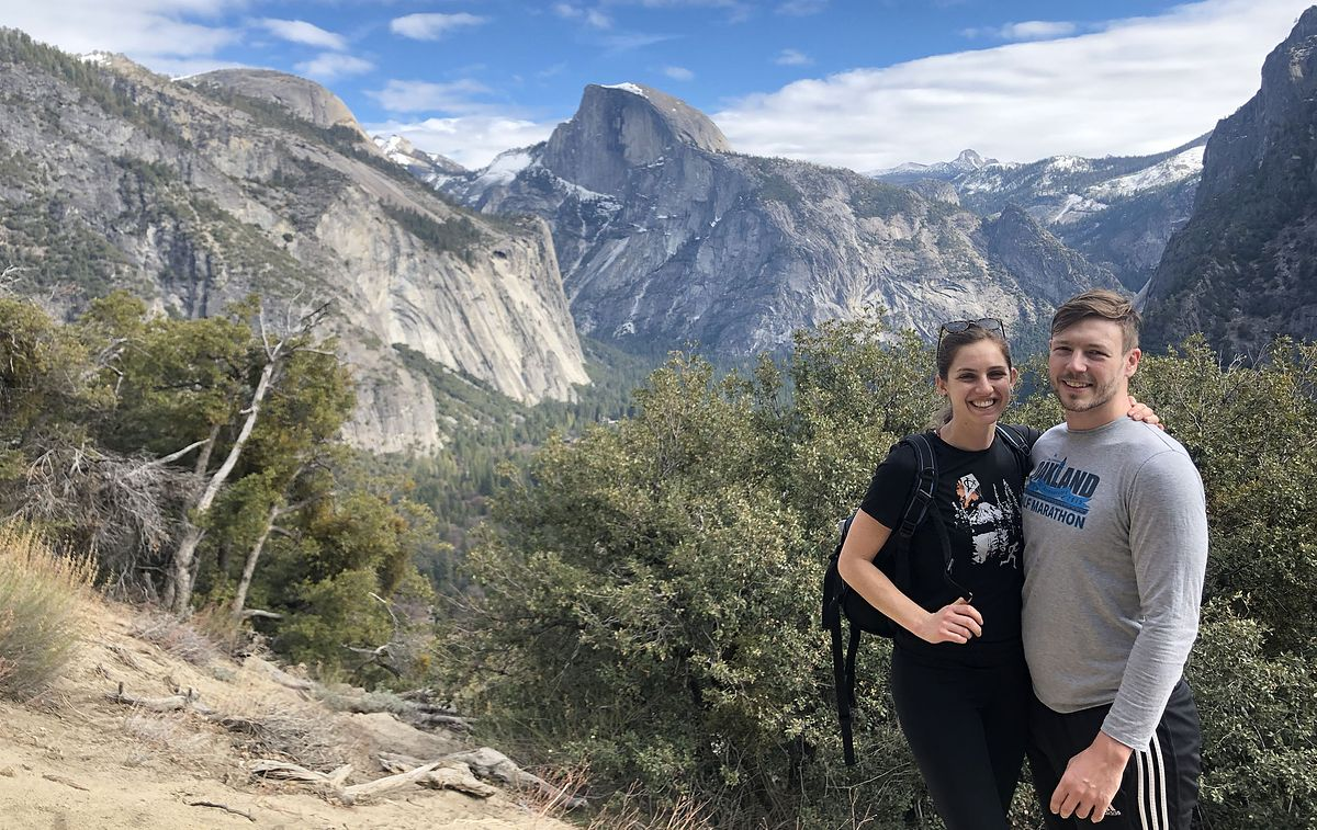 Ayla on a hike in Yosemite with her fiancé