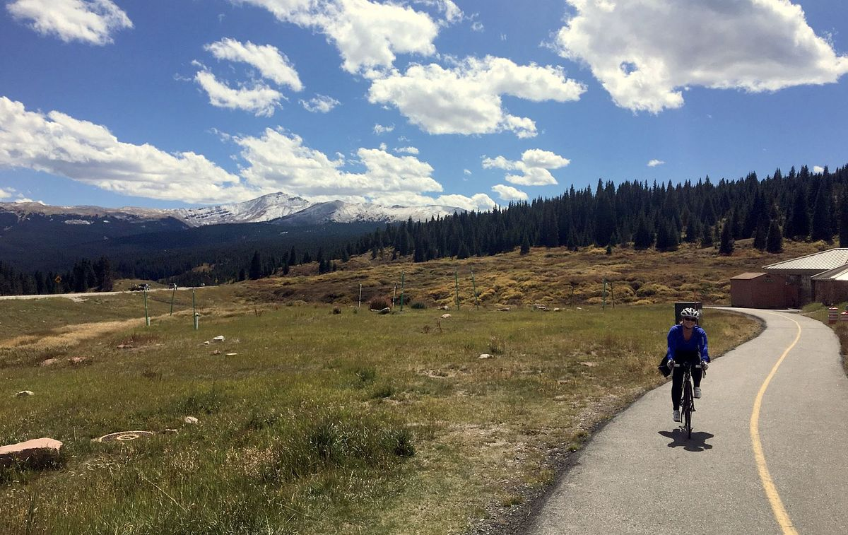Betsy cycling in Colorado